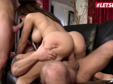 LETSDOEIT - Scorching French Milf Double Teamed By Her Neighbors