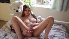 Petite young teen solo anal toy masturbation