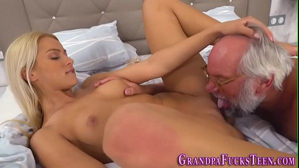 Teen sucks grandads cock