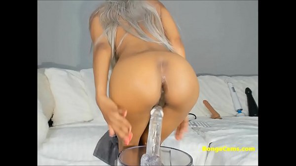 Naughty perfect body chick is riding transparent dildo on cam